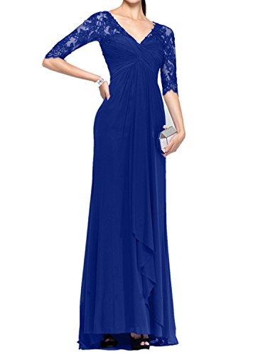 Charmant Damen Royal Blau 3/4 Langarm Spitze brautmutterkleider Abendkleider Ballkleider Bodenlang Dunkel Royal Blau
