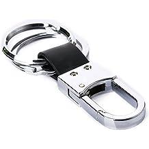 1 Pieza Negro de piel resistente de doble anillo llavero de la correa clip de la correa del anillo dominante de la llave Fob Regalo