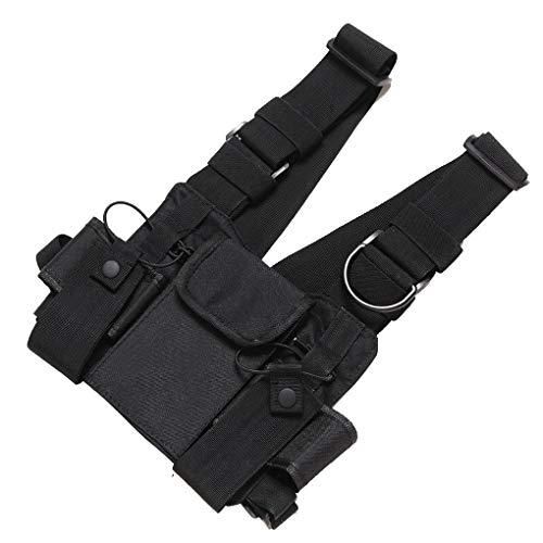 Preisvergleich Produktbild Minzhi Radio Harness Brust vorne Packung Beutel-Pistolenhalfter Vest Rig Tragetasche Ersatz für Baofeng UV-5R UV-82 UV-9R