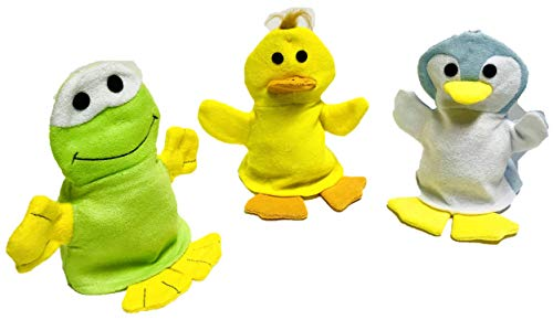 Juego de 3 manoplas de baño de pato