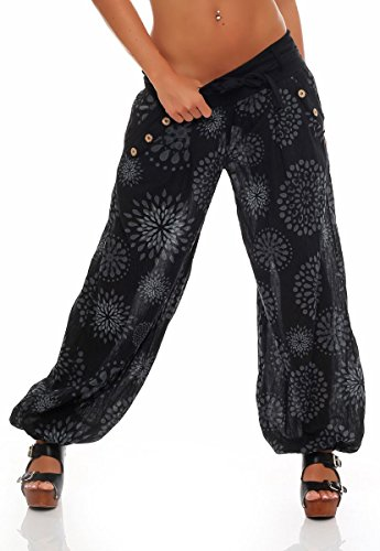malito Harem Pantalon en style avec d'été Print Aladin Yoga 3481 Femme Taille Unique (noir)
