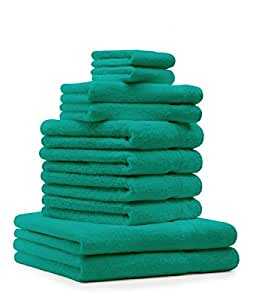 10 tlg. Badetuch Duschtücher Set Handtücher Classic Premium Farbe Smaragd Grün 100% Baumwolle 2 Seiftücher 2 Gästetücher 4 Handtücher 2 Duschtücher