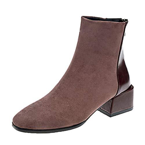MYMYG Damen Stiefeletten Frauen Wildleder Square Ferse Square Toe Warm Zipper Short Tube Stiefel Freizeit Übergrößen Flache Freizeitschuhe Ankle Boots Wildlederschuhe