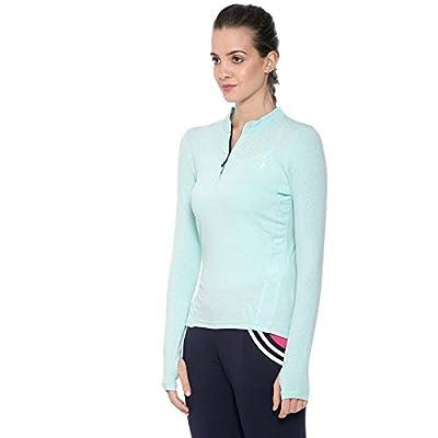 Campus Sutra Solid Women Mandarin Collar Light Sea Green Sports Jersey