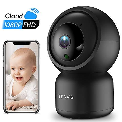 Überwachungskamera WLAN - WLAN IP Kamera Indoor mit 2 Wege Audio Nachtsicht Bewegungserkennung, 1080P Sicherheitskamera Einbruch Alarm, APP Cloud Speicherung Alexa, Haustiere/Baby/Kinder Überwachung