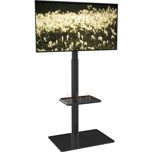 Meuble Télé Pied Support Pivotant pour TV Ecran de 19 à 42 Pouces LED LCD Plasma avec 2 Etagères en Verre Trempé