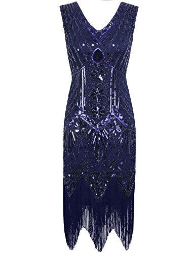 PrettyGuide 1920er Jahre mit V-Ausschnitt Sequin Art Deco Gatsby Inspiriert Flapper-Kleid M Royalblau