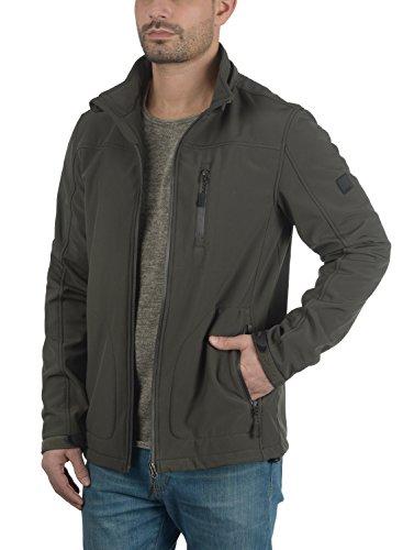 INDICODE Deegan Herren Übergangsjacke Softshell Jacke mit Kapuze aus hochwertiger Materialqualität Raven (930)
