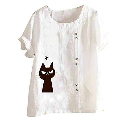 Linkay Bluse Damen Sommer T-Shirt Plus Size Frauen Kurzarm Baumwolle Leinen O-Neck Cat Print Casual Einfarbig Top Oberteil (Weiß,XXXX-Large) -