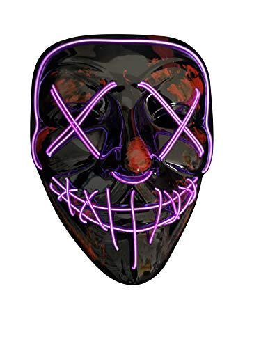 SOUTHSKY LED Mask V Vendetta Mask EL Wire Light Up For Halloween Costume Cosplay Party (X-Purple)