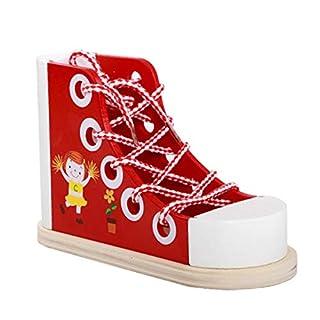 Txiangyang Schnürschuhe aus Holz zum Schnüren von Bleistifthalter, Schnürung, Sneaker, Spielzeug für Kinder