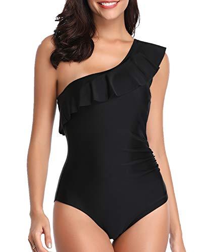 Tempt Me Badeanzug für Damen, asymmetrisch, mit Rüschen, 1 Stück - Schwarz - Small