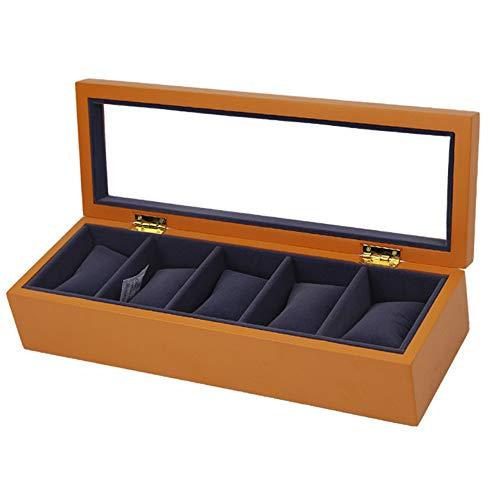Uhrenbox Holz 5 Slots Uhrengehäuse Entfernung Aufbewahrungskissen Geschenkbox Uhrenbox Schmuck Display Aufbewahrungsboxen Mit Glasplatte