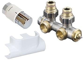 Oventrop Zubehör Set Für Heizstrahler Für Badezimmer, Mit Thermostat Uni SH  Multiblock T Form