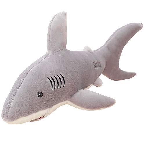 /100 cm Simulation Hai weich gefüllt Plüsch Spielzeug Kinder Puppe Kissen Kissen Simuliert Great White Shark Puppe Hai, Plüsch Big Kissen, grau, 80 cm ()