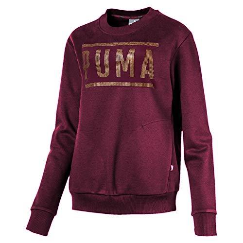Puma Damen Athletic Crew FL Sweatshirt, Fig/BronzeMedal, XL Athletic Crew Pullover