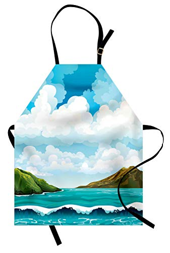 ABAKUHAUS Mer Tablier de Cuisine, Waves Blue Islands Sky, Lavable Réglable en Hauteur Couleurs claires sans décoloration, Multicolo