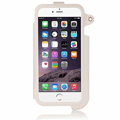 """JewelryWe 2in1 PU Leder Handy Case Schutzhülle Tasche Hülle Rückenschutzhülle Etui + Halter Halterung für Apple iPhone 6(4,7""""), Farbe Schwarz Weiss"""