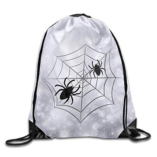 ZHIZIQIU Halloween Spider Web Unisex Drawstring Shoulder Bag Backpack String Bags - Stretch-spider