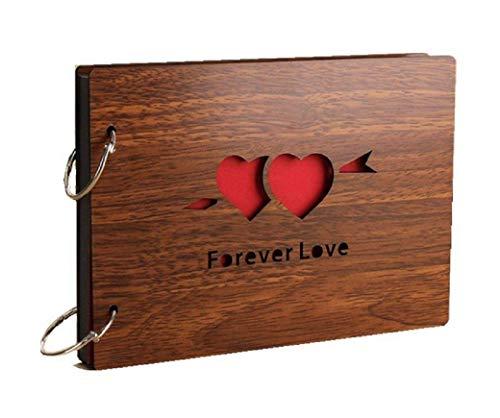 Fotoalben Scrapbook DIY Fotoalbum Bilderalbum Vintage Style Sticker Tagebuch aus Holz Geburtstaggeschenk 8 Zoll (forever love) (20 Hochzeit Jahrestag Geschenke)