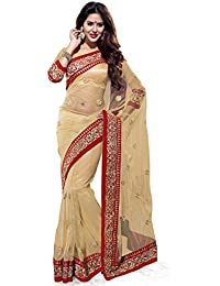 SOURBH Women's Net Saree with Blouse Piece