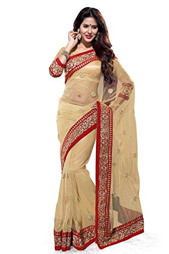 Sourbh Women's Net Saree With Blouse Piece (4269, Beige, Free Size)