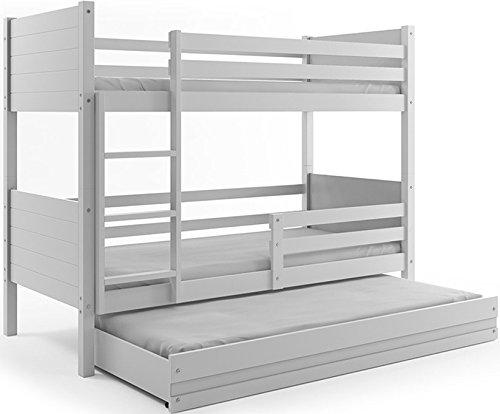 Litera 3 plazas Clir 190 x 80 con los somieres, colchones de espuma y cajón GRATIS! color blanco