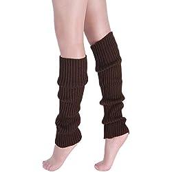 VJGOAL Moda casual para mujer Punto trenzado Mantener caliente Calentadores de la pierna Calcetines Cubierta de la bota Calcetines de la pierna(Un tamaño,café)