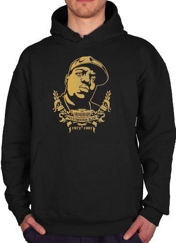 "IN MEMORIAM "" NOTORIOUS BIG B.I.G. "" Sweat Hoody Hoodie Hooded Sweater Designer Fun Shirt, Größe L, schwarz"