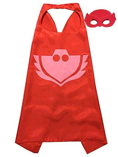 ygql 2Ein Set PJ Masken Kostüme für Kinder Owlette Maske mit Umhang (Kostüm Owlette Pj Masken)