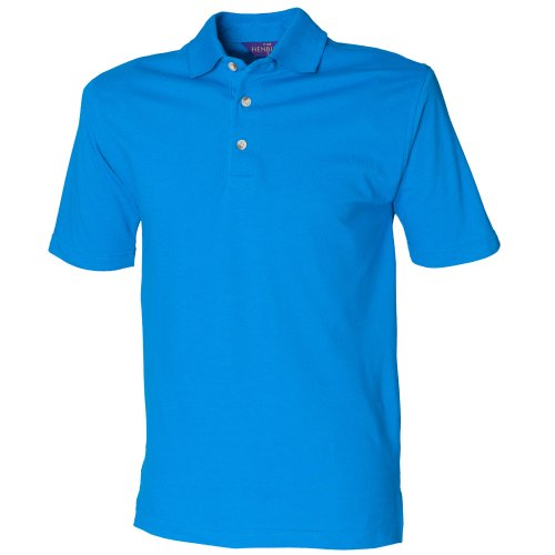 Henbury Herren Polo-Shirt, unifarben Vivid Blau