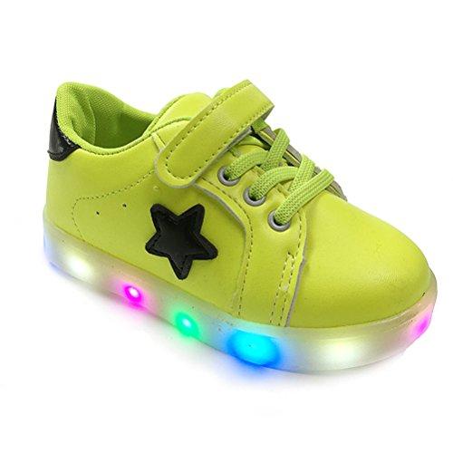 Oulii scarpe led bambini multi-colore luminoso scarpe sportive sneakers con luce - taglia 22 (verde)