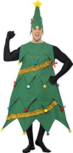 Smiffys, Herren Deluxe Weihnachtsbaum Kostüm, Tunika und Mütze, Größe: One Size, (Weihnachtsbaum Dress Kostüme Fancy)
