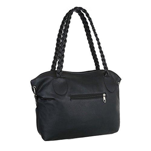 iTal-dEsiGn Damentasche Mittelgroße Handtasche Used Optik Tragetasche Schultertasche Kunstleder TA-3107 Schwarz