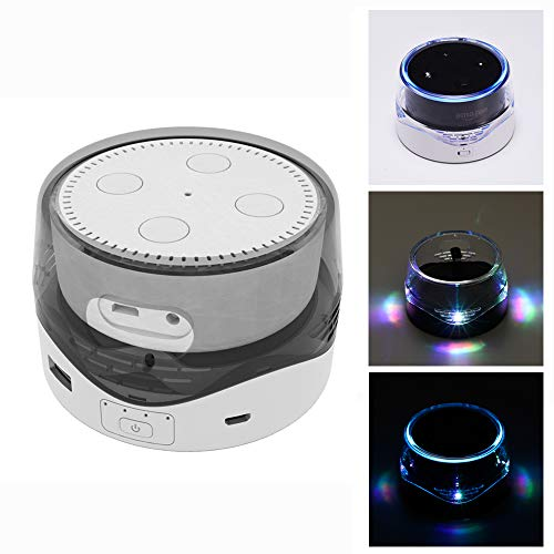 LUXACURY Echo Dot Batterie Basis Batteriestation/Schutzhülle 6000mAh Portable Battey Base Echo Dot 1 2 Powerbank Ladestation Stand mit LED Licht und USB-Anschluss für Handy
