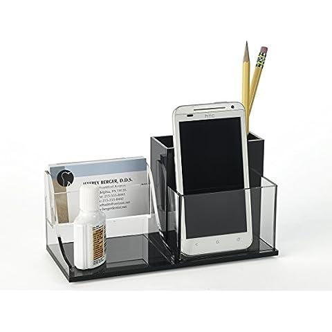 Handcrafted acrílico Tarjeta de Negocios Organizador de escritorio, con compartimentos para bolígrafos, lápices, Clips, teléfono celular, gafas, tijeras; negro y claro acrílico fundido por Unum ™