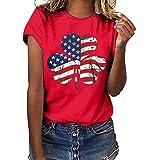 CixNy Damen Kurzarm T-Shirt Sommer Einfarbig Plus Size Klee Flagge Druck Tops Frauen Weste Bluse Oberteile Blau Gelb Grau Marine Rot Weiß Schwarz S-XXXL