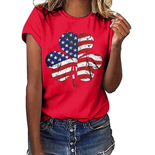 CixNy Damen Kurzarm T-Shirt Sommer Einfarbig Plus Size Klee Flagge Druck Tops Frauen Weste Bluse...