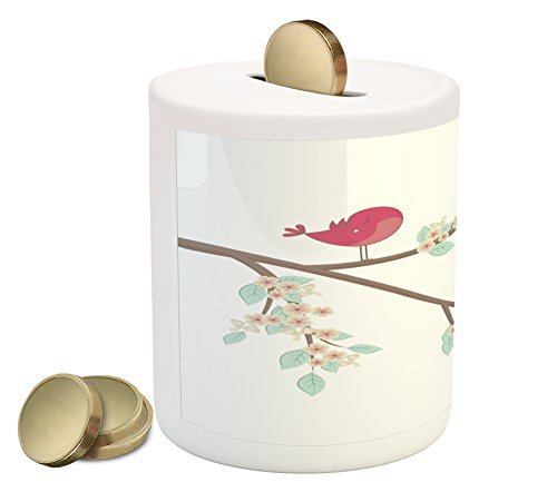 Lunarable Birds Piggy Bank, Cute Pink Birds in Love on a Tree Branch Cartoon Style Valentines Day Illustration, Printed Ceramic Coin Bank Money Box for Cash Saving, Multicolor
