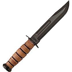 Ka-Bar USMC - Cuchillo combate y de uso múltiple, 1.095 de acero, con recubrimiento en polvo, asa de piel, funda de piel