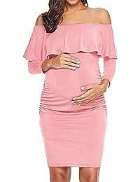 d0d242724 HCFKJ Ropa Premamá Invierno Talla Grande para Mujer Embarazadas Embarazo  Puro Color Hoja De Loto Lado