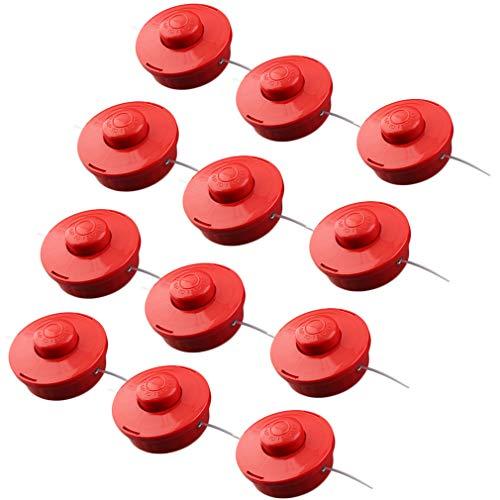 Krispich Fadenspule mit Tippautomatik, 12 Stück Doppelfadenkopf für Motorsense Rasentrimmer Fadenkopf, Freischneider, Grasschneider Universal