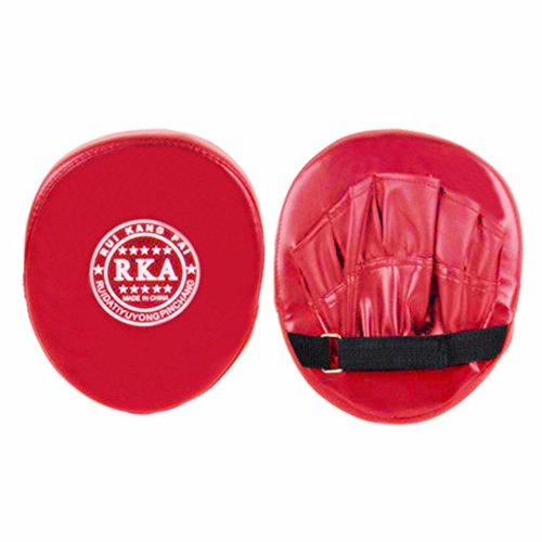 LNIMIKIY Boxhandschuhe, PU-Leder Punching Kicking Target Pad Target Mitt Handschuh für Fokustraining von Karate, rot -