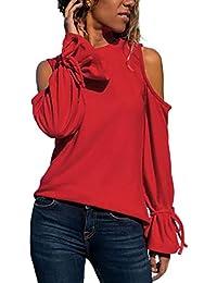 Luckycat Camisas para Mujer, Elegante Camiseta Mujer Blusas Off Hombro Manga Larga Pullover Mujer Moda Color sólido Tops Fiesta Blusa