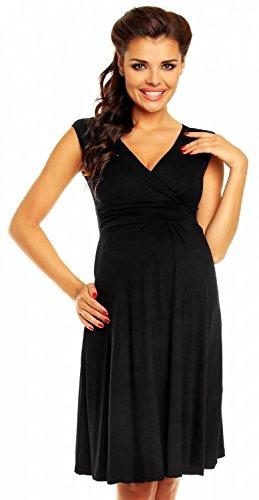 *Zeta Ville Damen Schones Umstandskleid Sommer Kleid Zum Stillen Geeignet 256c Schwarz, Gr  EU 44, L*