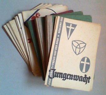 Jungenwacht. Blatt evangelischer Jungenschaft. Jge. 1 (1933) - 4 (1936) und Jg. 5 (1937), Hefte 1-10 und 12 (von 12) in insgesamt 15 Bden. bzw. Original-Lieferheften.