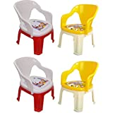 Soft Cushion Baby Chair For Kids Home School Study Plastic Chairs For Boys & Girls Unisex (4 Piece)