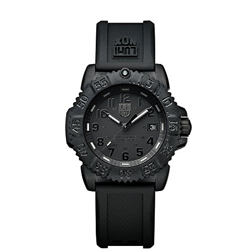 Luminox Navy SEAL Colormark 38mm Unisex Quartz watch with Black dial featuring LLT Luminox light Technology 38 millimeters Carbon Compound case and Black PU Strap  XS.7051.BO.1