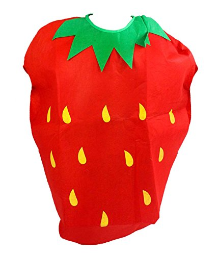 Kostüm Kinder Erdbeer - Red Strawberry Unisex School Play Party Costume Children Clothing Fruit Outfit (Red)
