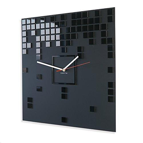 Horloge murale Harmony carrée - Noir - Grande taille - Style moderne - 50 cm